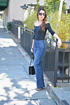 Flare Jeans, High Waisted Jeans, Melted Fig Lip Color, Off The Shoulder Top