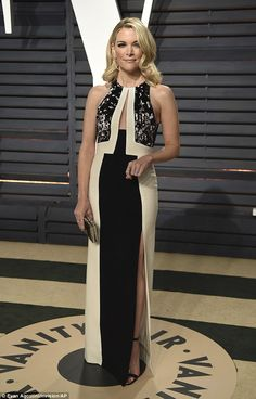 She's back:Megyn Kelly attended the Vanity Fair Oscar Party in Los Angeles on Sunday night (above)