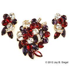 Eisenberg Red & Purple Rhinestone Brooch and Earrings Set