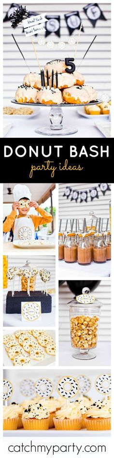 Just love this fabulous black, yellow and white Donut Bash!
