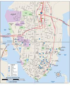 Printable Map of Charleston's Historic Downtown Peninsula - Charleston, South Carolina SC