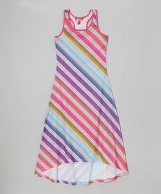 Another great find on #zulily! Rainbow Diagonal Stripe Racerback Maxi Dress - Toddler & Girls #zulilyfinds