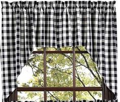 Buffalo Black Check Lined Swag CurtainsAdd charm to your window decor with our Buffalo Black Check swag curtains. Our primitive country swag curtains are 36x36