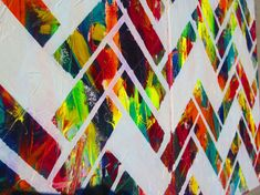 """Multicolored Herringbone Abstract Modern Oil Painting by tanyagrub on Etsy - $90 for 2 pc 32""""x20"""""""