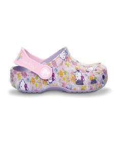 http://www.zulily.com/invite/vhanson979 Take a look at this Lavender & Bubble Gum Hello Kitty Clog by Crocs on #zulily today!