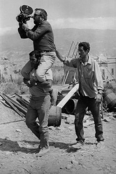 "Sergio Leone with assistants on the set of ""Once Upon a Time in the West""...  dir. Sergio Leone, 1968."
