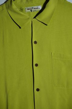 Men's L Green Tommy Bahama EUC Button Down Short Sleeve Lounge Shirt 100% Silk  #TommyBahama #ButtonFront