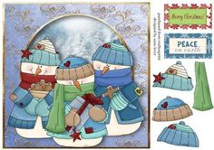 We Three Snowmen on Craftsuprint designed by Anne Lever - This lovely large square christmas topper will fit on an 8x8 card. It features three fabulous snowmen on a blue frame. It has decoupage and two greetings. The greetings are merry christmas and peace on earth.  - Now available for download!