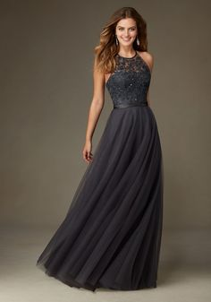 Long Tulle Bridesmaid Dress with Embroidery and Beading with Satin Waistband Designed by Madeline Gardner. Shown in Charcoal.