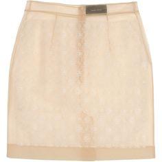 SIMONE ROCHA Mini skirt (£100) ❤ liked on Polyvore featuring skirts, mini skirts, bottoms, saias, gonne, short mini skirts, pink mini skirt, short lace skirt, lace mini skirt and short skirts
