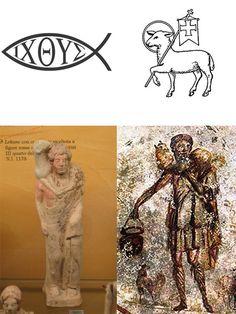 De izquierda a derecha: El Pez, el Cordero de Dios, Moscóforo y el Buen Pastor (moscóforo tomado por el Cristianismo). Este último data del siglo III.