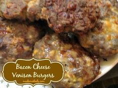 Bacon Cheese Venison Burgers are so good you don't even need the bun! Bacon Cheese Venison Burgers is a wonderful way to use ground venison! Deer Burger Recipes, Moose Recipes, Sausage Recipes, Beef Recipes, Yummy Recipes, Venison Burgers, Hamburgers, Oh Deer, Pressure Cooker Recipes