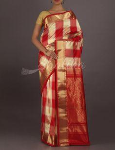 Subhagya Red And Cream Checks #BangaloreSilkSaree
