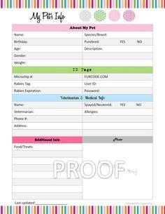 Pet Information Organizer  - Organizing Printable Template - PDF Digital Instant Download