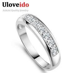 Uloveido 50% off pesona cincin untuk wanita pernikahan band zircon 925 sterling silver rings untuk wanita/pria anel grosir bijoux j294
