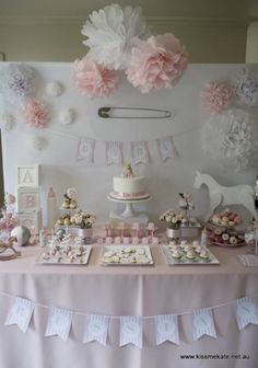 17. Baby Pink and #White - 27 Super Cute Baby #Shower Decorations to Make Your #Party the Best ... → #Parenting #Decoration