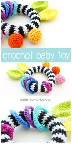 Crochet black and white baby teething ring with rainbow nubbins, ears, and rattling rings