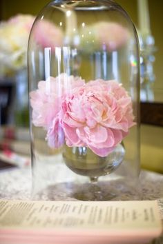 Table decorations inspired by Beauty and the Beast. Flower inside a bell jar