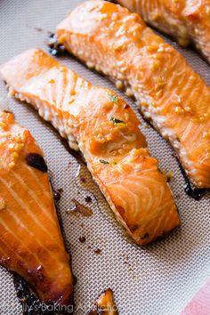 Sally's Baking Addiction Easy Healthy Dinner: Garlic Honey Ginger Glazed Salmon with Broccoli. Honey Recipes, Salmon Recipes, Fish Recipes, Seafood Recipes, Cooking Recipes, Fish Dishes, Seafood Dishes, Easy Healthy Dinners, Healthy Recipes