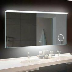 Perfect Cost Albertus LED Bathroom/Vanity Mirror By Orren Ellis Unique Bathroom Mirrors, Backlit Bathroom Mirror, Modern Bathroom Lighting, Rustic Bathroom Vanities, Bathroom Sets, Amazing Bathrooms, Led Mirror, Master Bathroom, Lighted Mirror