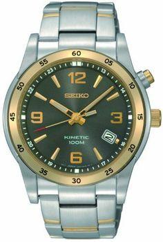 Seiko Men's SKA508 Kinetic Watch Seiko. $209.95. Grey dial. Two-tone. Hardlex crystal. Kinetic movement. Water-resistant to 100 M (330 feet)