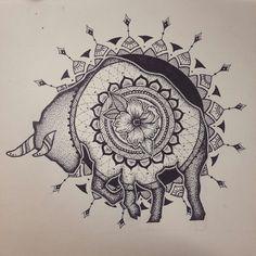 Taurus Zodiac Sign Mandala - Dotwork by elenoosh.deviantart.com on @DeviantArt