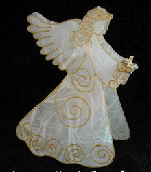 Angel Candle Cover - shrink plastic (not shrunk), tissue paper on back, gold dimensional  paint; electric votive.