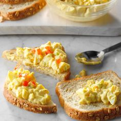 Egg salad is a refreshing, tasty change from lunchmeat or peanut butter sandwiches. The touch of mustard and lemon juice gives it extra zip. —Annemarie Pietila, Farmington Hills, Michigan Egg Salad Recipe With Relish, Best Egg Salad Recipe, Cold Sandwiches, Steak Sandwiches, Peanut Butter Sandwich, Cocktails, Drinks, Vegetarian Dinners, Vegetarian Recipes