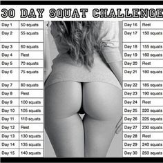 30-Day Squat Challege. My booty hurts just reading this.