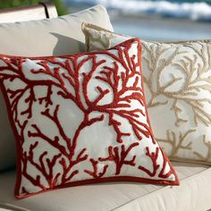 : Wonderful Branch Coral Embroidered Outdoor Pillow Design In Living Room With Coral Throw Pillows Decoration Ideas Inspiration Sewing Pillows, Diy Pillows, Decorative Pillows, Cushions, Pillow Ideas, Coral Throw Pillows, Punch Needle Patterns, Pottery Barn Inspired, Rug Hooking