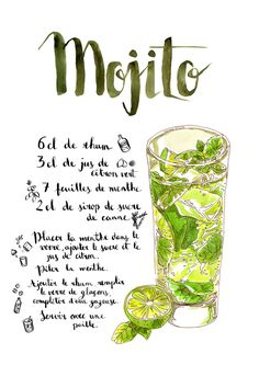 Mojito Poster Art Print by agou Mojito Cocktail, Alcohol Drink Recipes, Tequila Sunrise, Cool Books, Summer Drinks, Etiquette, No Cook Meals, Cocktail Recipes, Smoothies