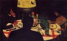Félix VALLOTTON (1864-1925) : le dîner , effet de lampe