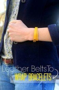 DIY Leather Belt Wrap Bracelets