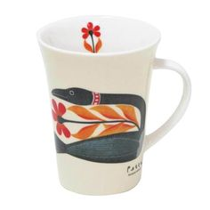 "Kenojuak Ashevak: Floral Passage Porcelain Mug: Designed by Inuit Artist Kenojuak Ashevak. ""I like to make people happy and everything happy. Porcelain Mugs, Fine Porcelain, Canadian Art, Stoneware Mugs, Stainless Steel Water Bottle, New Beginnings, Glass Ornaments, Northern Canada, Drinkware"