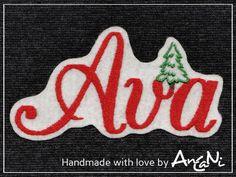 Aufnäher Name mit Tannenbaum ♥ Weihnachten ♥ x-mas von AnCaNi auf DaWanda.com