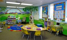Colorful and inspiring classroom.  Love the murals.