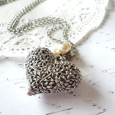 Silver Heart Necklace - Big - Bold - Modern - Long