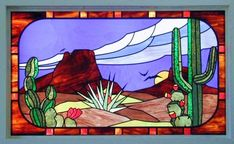Free Southwestern Stained Glass Patterns #StainedGlassCactus