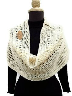 Crochet Woman Shawl Wrap  Shrug Circle Scarf Shoulder by KrissWool, $55.00