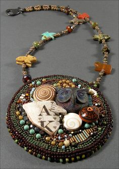 All Knowing  Bead embroidery necklace with by TimeTravelersTokens, $175.00