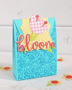 "Bloom Gift bag by designer Kimberly Crawford with the ""Spring"" collection, designer dies, and designer stamps by #EchoParkPaper"