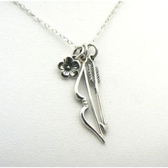 Bow Arrow Necklace Katniss Hunger Games Inspired Sterling Silver Charm... ($40) ❤ liked on Polyvore featuring jewelry, necklaces, sterling silver charm necklace, clasp charms, cluster necklace, charm jewelry and charm chain necklace