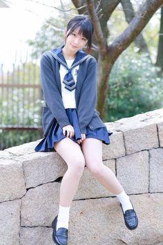 Asian School Girl Sitting on Stone Wall Cute School Uniforms, School Uniform Fashion, Japanese School Uniform, School Girl Outfit, School Uniform Girls, Girls Uniforms, School Girl Japan, Japan Girl, Beautiful Japanese Girl