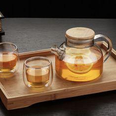 Glass Tea Pot with Bamboo Lid Tea Pot Set, Pot Sets, Assiette Design, Cappuccino Tassen, Teapot Cake, Glass Teapot, Flower Tea, Tea Service, Maker