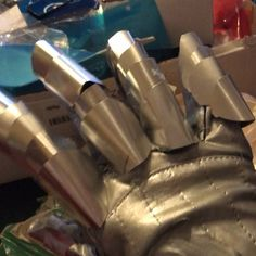Working on the gauntlet glove for my niece Lilys Magik cosplay from the New Mutants/X-men.  I used a Darth Vader glove as a base and am using aluminum flashing cut up into pieces and glued on for the armor part.  I was able to finish all five fingers last night Now on to the hand .#magikcosplay #magik . #xmencosplay #xmen #magik #magikcosplay #illyanarasputincosplay #illyanarasputin #newmutantscosplay #newmutants #thenewmutants #propmakersofinstagram #props #propmaker #propmakers…