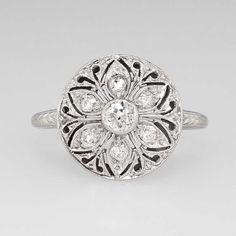 Edwardian Floral .36ct t.w. Old European Cut Diamond Filigree Ring 18k
