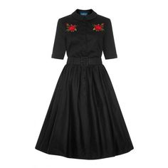Collectif Vintage Aria Rose Embroidery Shirt Dress ($105) ❤ liked on Polyvore featuring dresses, embroidery dress, vintage rockabilly dresses, rose dress, collectif and embroidered dress