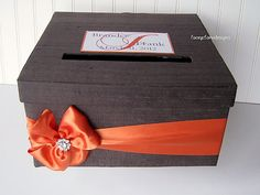 Wedding Card Box Charcoal Grey and Orange  by LaceyClaireDesigns, $72.00