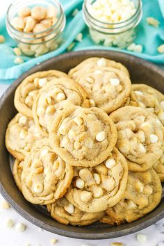 These White Chocolate Macadamia Nut Cookies have soft and chewy centers with lightly crisp edges! They use an extra egg yolk for chewiness and are loaded with white chocolate chips and macadamia nuts for the ultimate cookie! Chewy Sugar Cookies, Lemon Cookies, White Chocolate Macadamia, White Chocolate Chips, Lemon Biscuits, Macadamia Nut Cookies, Food Scale, Lemon Recipes, Baking Recipes
