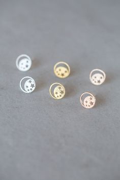 Cute moon and star stud earrings in gold, rose gold, and silver.